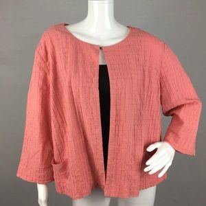 Chico's peachy pink bolero open shrug jacket XL